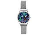 Ladies Watch With Abalone Dial Silver Tone Stainless Steel Mesh Band With Magnetic Clasp