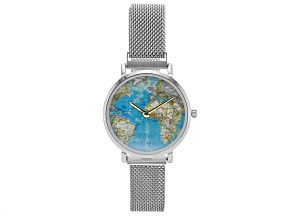 Ladies Silver Tone Stainless Steel Mesh Band Watch With Magnetic Clasp