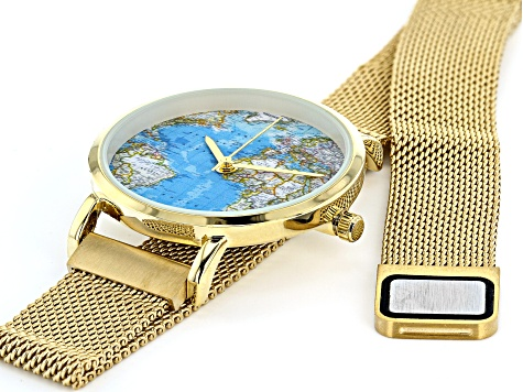 Ladies Gold Tone Stainless Steel Mesh Band Watch With Magnetic Clasp