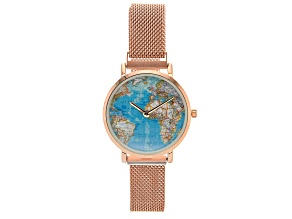 Ladies Rose Tone Stainless Steel Mesh Band Watch With Magnetic Clasp