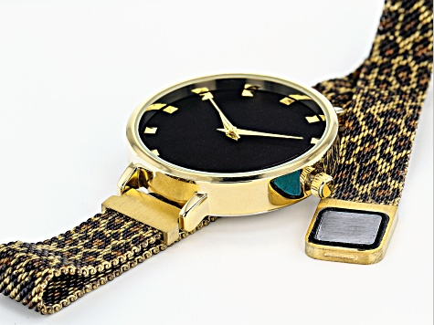 Ladies Gold Tone & Animal Print Stainless Steel Mesh Band Watch With Magnetic Clasp