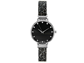 Ladies Silver Tone & Animal Print Stainless Steel Mesh Band Watch With Magnetic Clasp