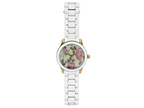 Picard & Cie Ladies White Aluminum Coated Watch With Floral Dial & White Crystal