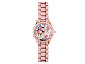 Picard & Cie Ladies Pink Aluminum Coated Watch With Floral Dial & White Crystal
