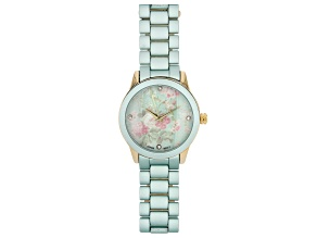 Picard & Cie Ladies Mint Aluminum Coated Watch With Floral Dial & White Crystal