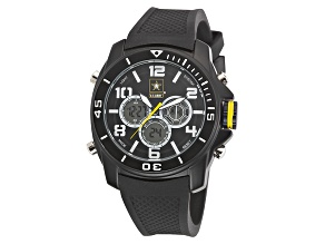 Wrist Armor U.S. Army Men's Black Tone And Black Silicone Digital Chronograph Watch