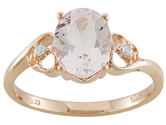 Cor-de-rosa Morganite 1.50ct Oval With Diamond Accent 10k Rose Gold Ring Erv $262.00
