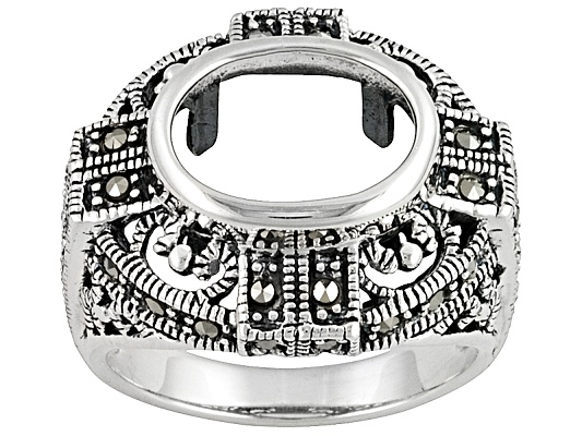 Gemgroove Journeys(Tm) 11x9mm Oval With .60ctw Marcasite Sterling Silver Semi-mount Ring