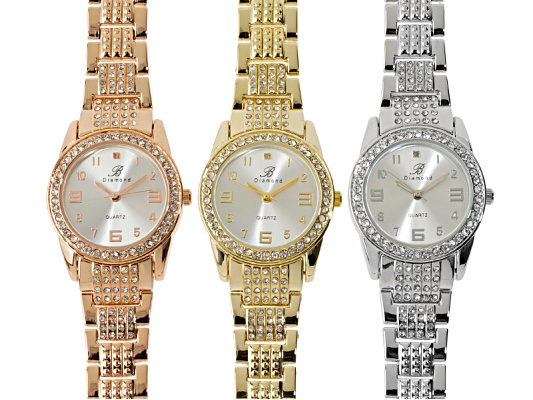 Burgi Silver, Rose And Gold Tone Diamond Accent And Crystal Ladies Watch Set Of 3 ...