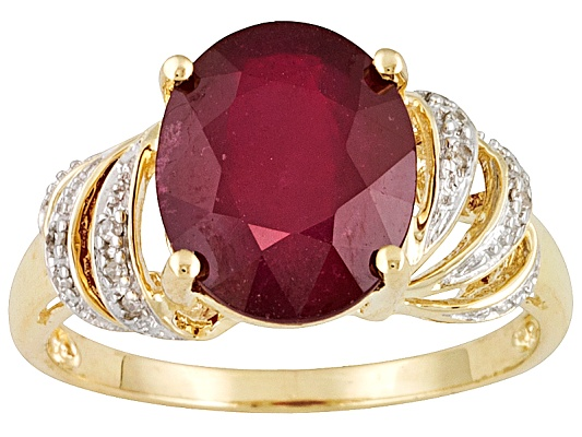 Mahaleo Ruby 5.55ctw Oval With Diamond Accent 10k Yellow Gold Ring