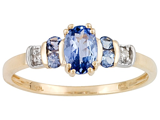 .50ctw Oval And Round Tanzanite With Diamond Accent 10k Yellow Gold Ring