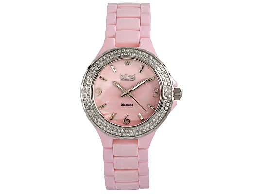 Burgi Ladies Diamond Accent And Crystal Pink Ceramic Watch Msrp $875.00