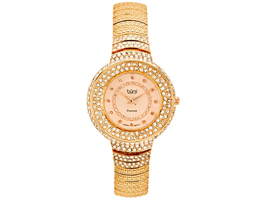 Burgi Ladies Diamond Accent And Crystal Ip Rose Tone Plated Over Brass Watch Msrp $595. ...