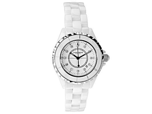 Akribos Ladies White Ceramic Watch