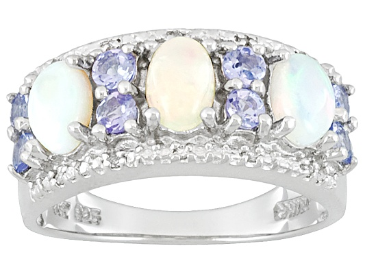 Ethiopian Opal And Tanzanite 1.58ctw With Diamond Accent Sterling Silver Ring