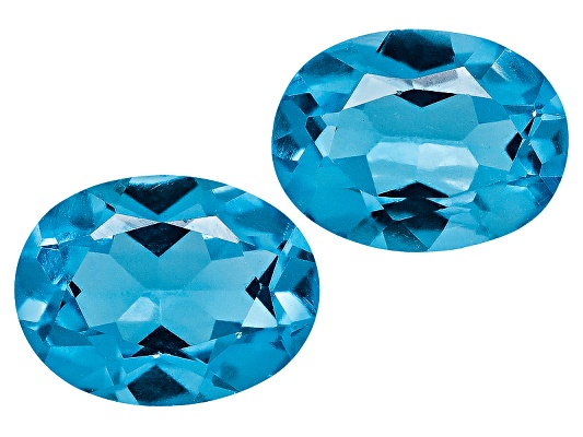 Set Of 2 Swiss Blue Topaz Average 3.00ct 8x6mm Oval