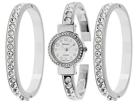 Geneva Ladies Crystal Silver Tone Watch And Bracelet Set