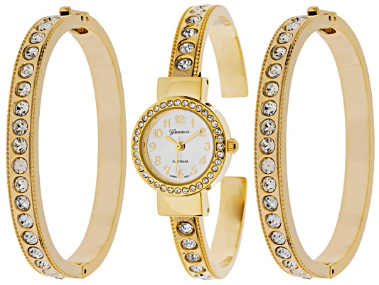 Geneva Ladies Crystal Gold Tone Watch And Bracelet Set