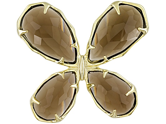 Brazilian Smoky Quartz 27.25ctw Fancy Cut 10k Yellow Gold Butterfly Pendant