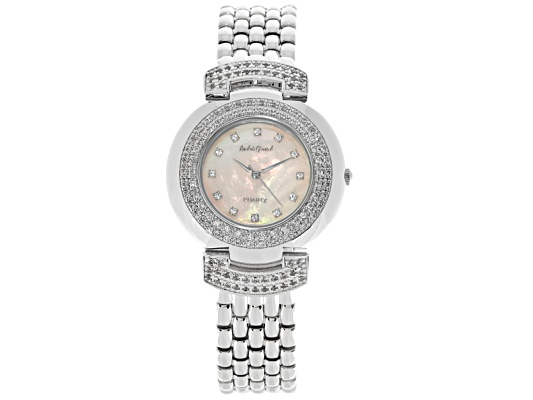 Andre Giroud Ladies Mother Of Pearl And Crystal Watch