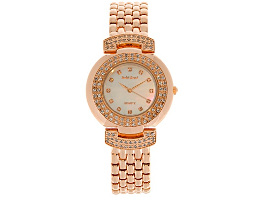 Andre Giroud Ladies Mother Of Pearl And Crystal Rose Tone Watch