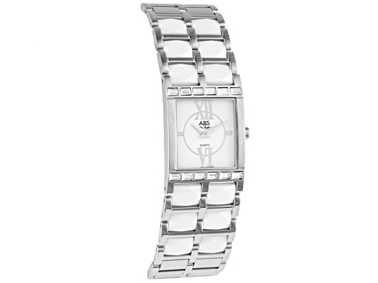 Abs Ladies White Ceramic And Stainless Steel Watch