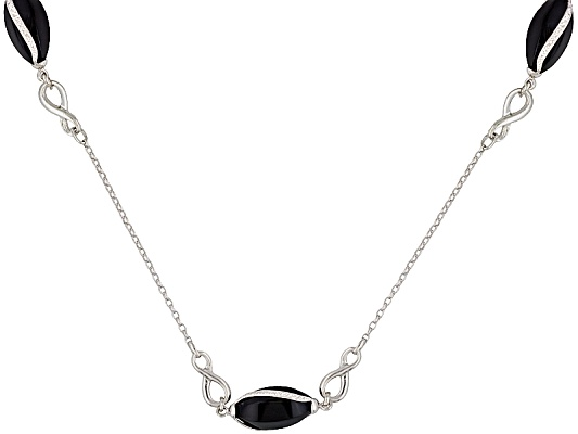 Aucara(Tm) Black Onyx Fancy Cut With Diamond Cut Design Sterling Silver Necklace