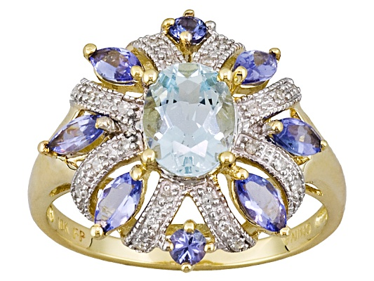 Altai Aquamarine 1.06ct Oval, .90ctw Tanzanite And Diamond Accent 10k Yellow Gold Ring