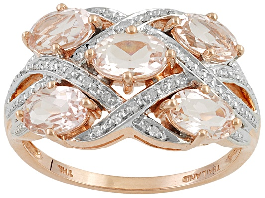 Cor-de-rosa Morganite 1.80ctw Oval With Round Diamond Accent 10k Rose Gold Ring Erv $431.00