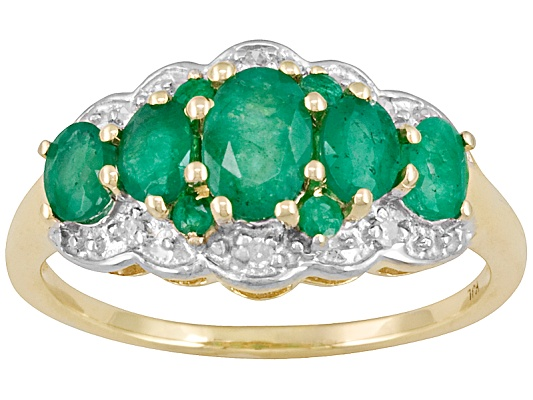 1.00ctw Oval And Round Emerald With Round Diamond Accent 10k Yellow Gold Ring