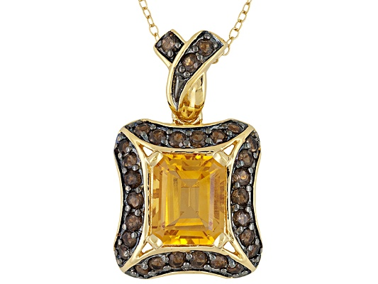 Stratfiy(Tm) 4.25ctw Brazilian Citrine & Smoky Quartz 18k Yg Over S/S Pendant With Chain Eav ...