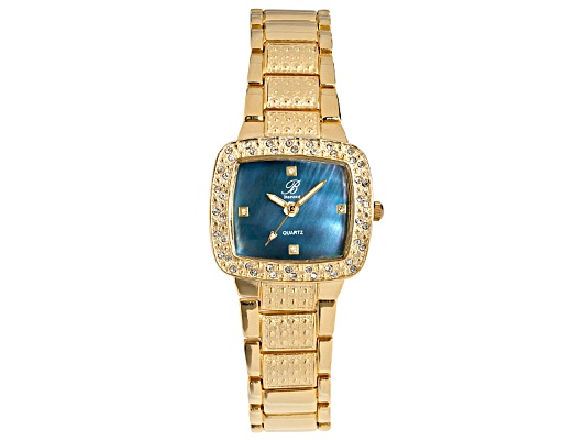 Burgi Ladies Gold Tone Crystal And Blue Mother Of Pearl Watch