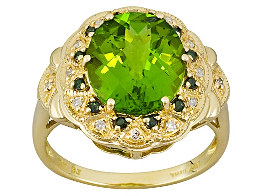Manchurian Peridot 5.03ct Oval With Green And White Diamond .19ctw Round 10k Yellow Gold Ring ...