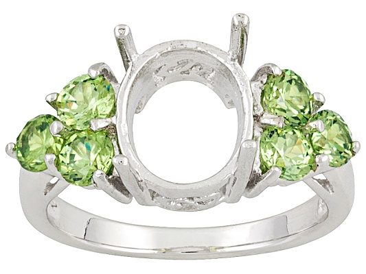 Gemsavvy Nostalgia(Tm)10x8mm Oval With 1.32ctw Round Demantoid Garnet Sterling Semi Mount Ring