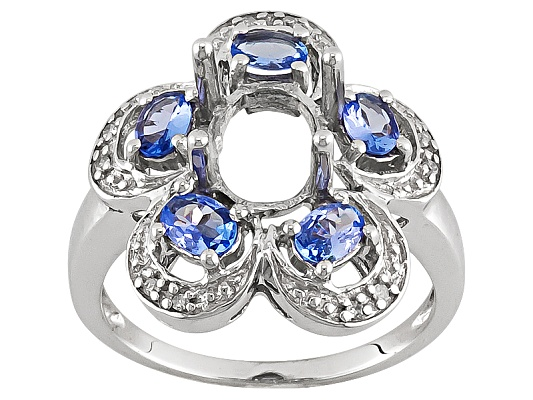 Gemsavvy Trenditions(Tm) 9x7mm Oval With .89ctw Oval Tanzanite Sterling Silver Semi Mount Ring