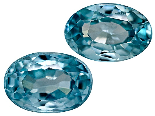 Match Pair Cambodian Blue Zircon Average 1.40ctw 6x4mm Oval