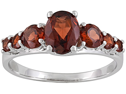 Vermelho Garnet 2.04ctw Oval And Round Sterling Silver Ring
