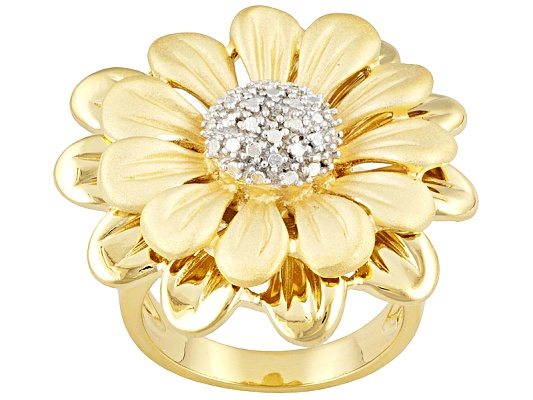 Diamond Accent Round 18k Yellow Gold Over Sterling Silver Flower Ring