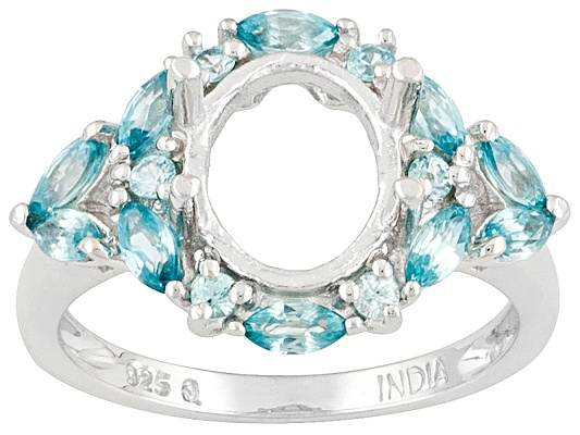 Gemsavvy Nostalgia(Tm) 10x8mm Oval With Blue Zircon 1.44ctw Round, Sterling Silver Ring Semi Mount