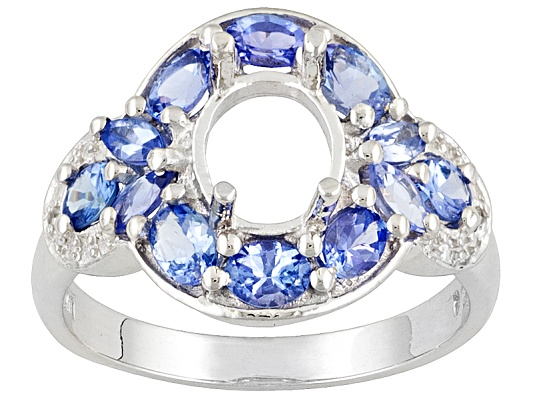 Gemsavvy Trenditions(Tm) 9x7mm Ov With Tanzanite 1.70ctw Marquise & Ov Zircon Rd Sterling Semi ...