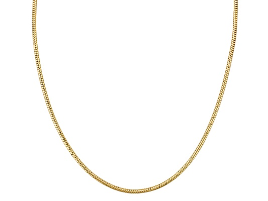 Argentovoge(Tm) Snake Link 18k Yellow Gold Over Sterling Silver Adjustable Necklace Made In Italy