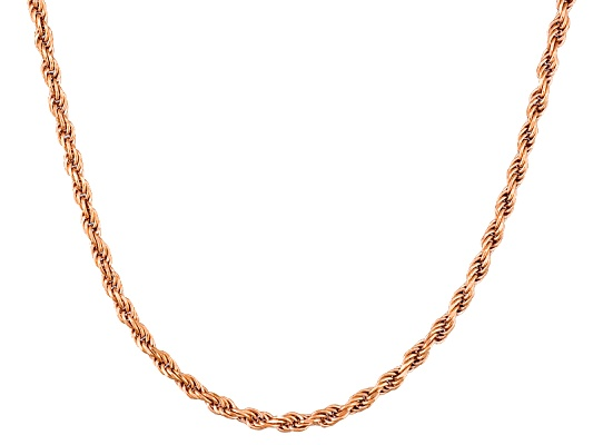 Argentovoge(Tm) Rope Link 18k Rose Gold Over Sterling Silver Adjustable Necklace Made In Italy