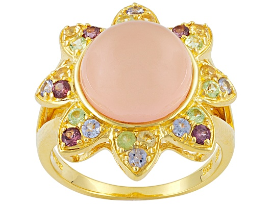 Park Avenue Collection Pink Chalcedony 6.59ct With Multi Color Gem 1.05ctw Round 18k Yg S/S ...