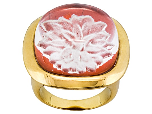 Moda Di Pietra(Tm)Red Jasper Chrysanthemum Flower And Quartz Doublet 18k Yg Over Bronze Ring