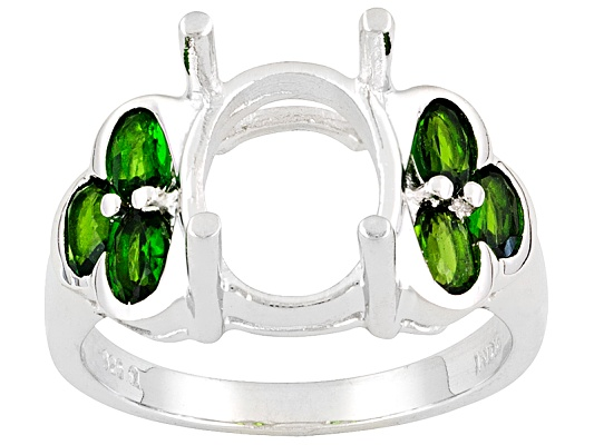 Gemsavvy Trenditions(Tm)14x10mm Oval With 1.32ctw Oval Chrome Diopside Sterling Semi Mount Ring