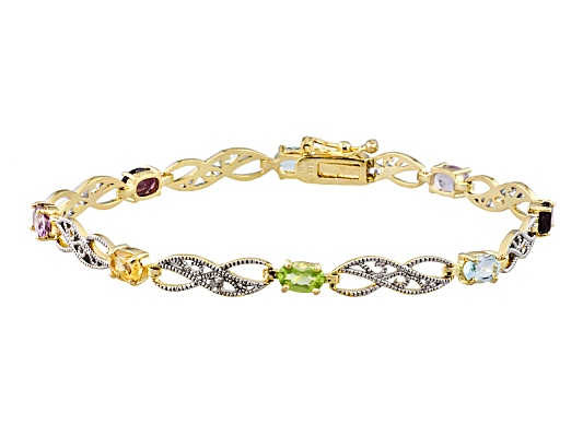 Multi Gemstone 3.60ctw With Diamond Accent, Sterling And 18k Yellow Gold Over Sterling Bracelet