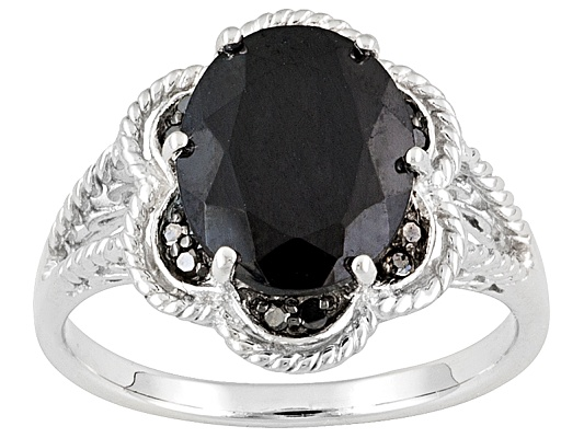 Black Spinel 3.84ct Oval With Black Diamond Accent Round Sterling Silver Ring