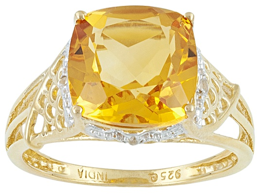 Stratify(Tm) Brazilian Citrine And White Topaz 4.14ctw 18k Yg Over Sterling Silver Ring Erv ...