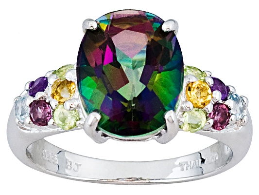 Mystic Green Topaz(Tm) Oval With Multi-gem 4.06ctw Round Sterling Silver Ring