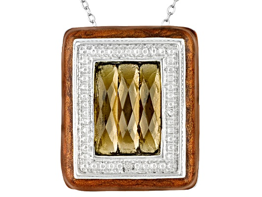 1.84ctw Brazilian Smoky Quartz And Diamond Accent Brown Epoxy Sterling Pendant With Chain